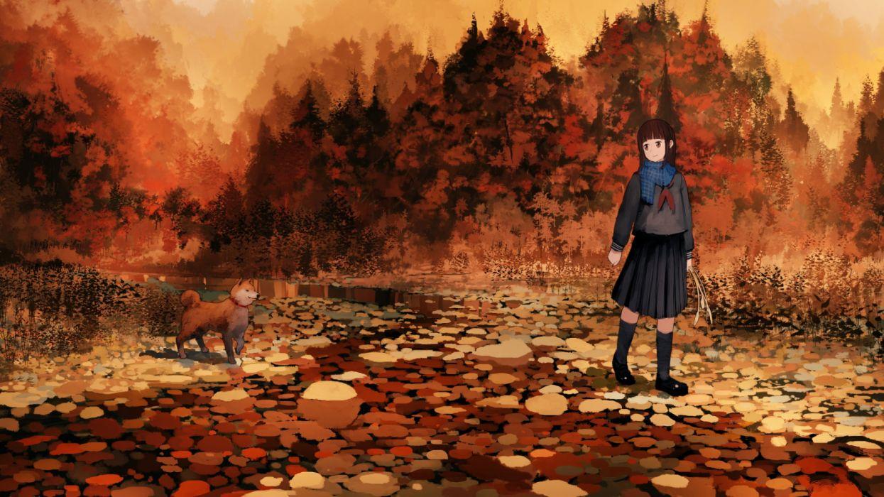 girls trees animals manga autumn nature dogs wallpaper