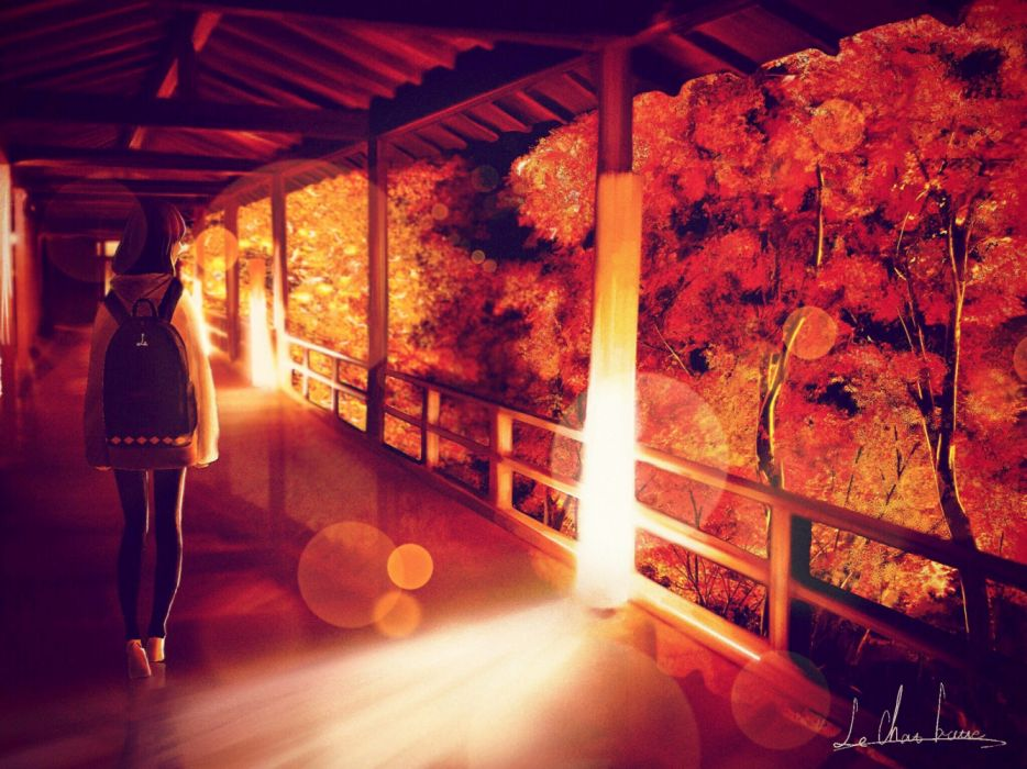 bokeh girls trees houses manga autumn objects nature wallpaper