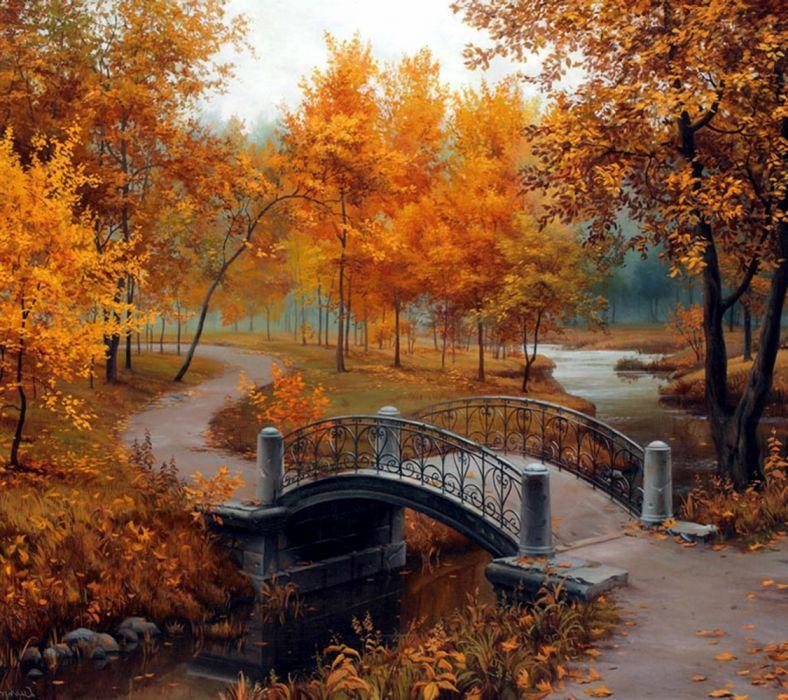 water trees road leaves bridges autumn nature figures wallpaper