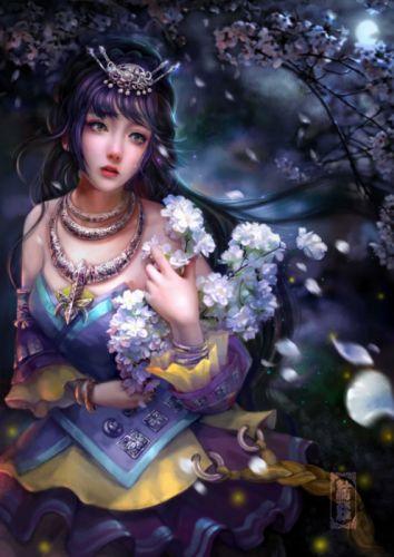 cao-yuwen Sad girl flower dress fantasy wallpaper