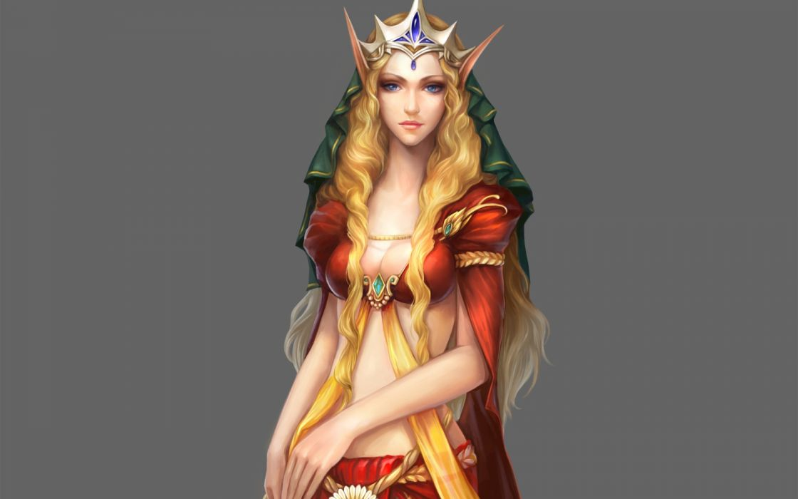 girls drawings fantasy widescreen elves wallpaper
