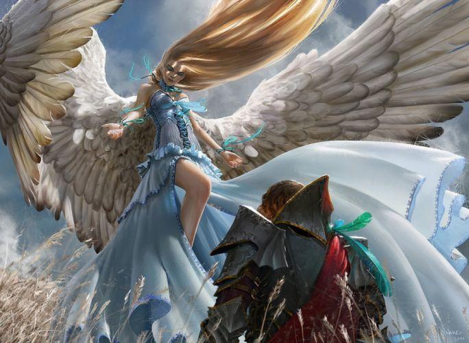 girls beautiful men sky nature figures fantasy wallpaper
