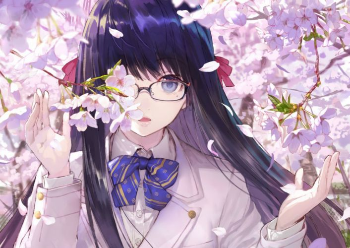 spring girls trees manga objects nature flowers wallpaper