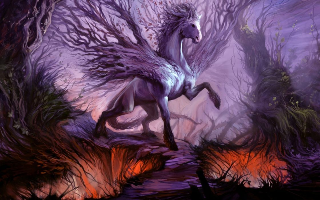 trees animals forest horses sky drawings fantasy wallpaper