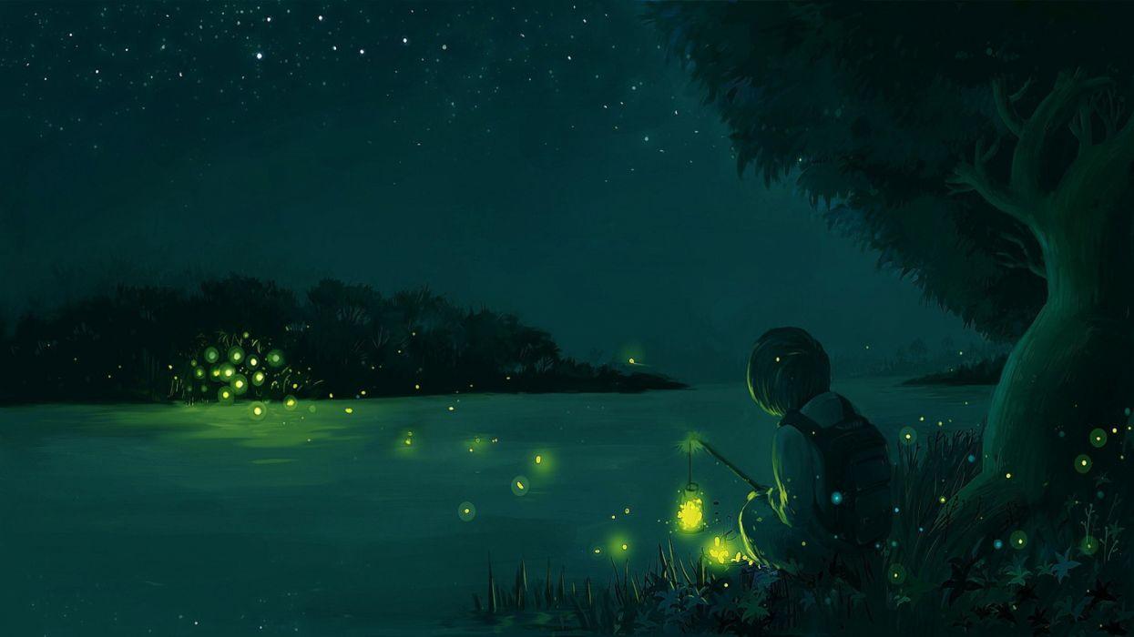 water trees children manga insects sky night nature wallpaper