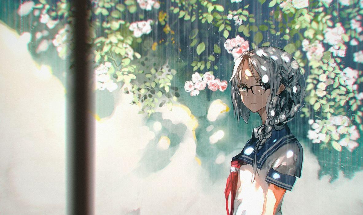 spring girls rain leaves objects drawings flowers wallpaper