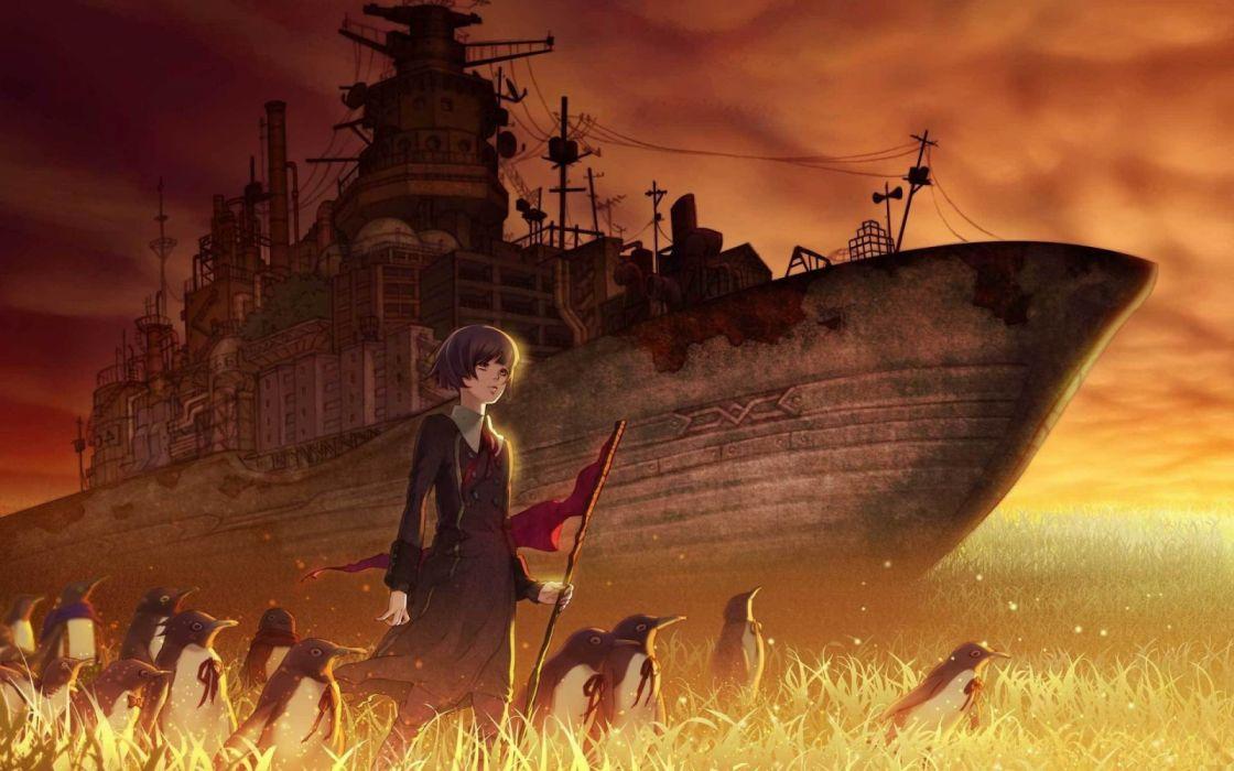 girls ships manga military sky funny birds fantasy wallpaper