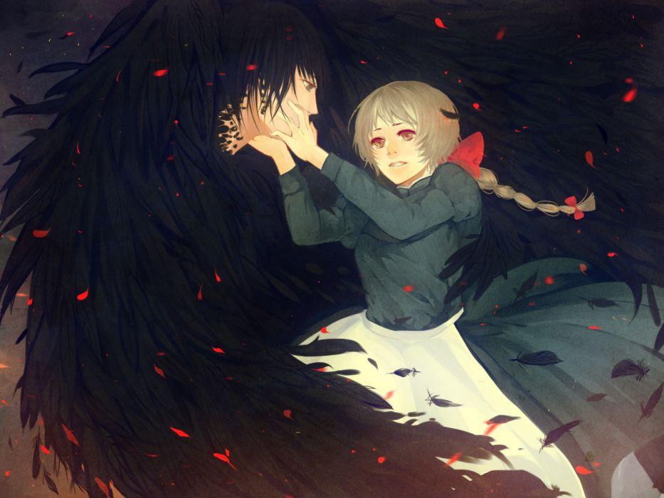 anime girls men fantasy love couple wings wallpaper
