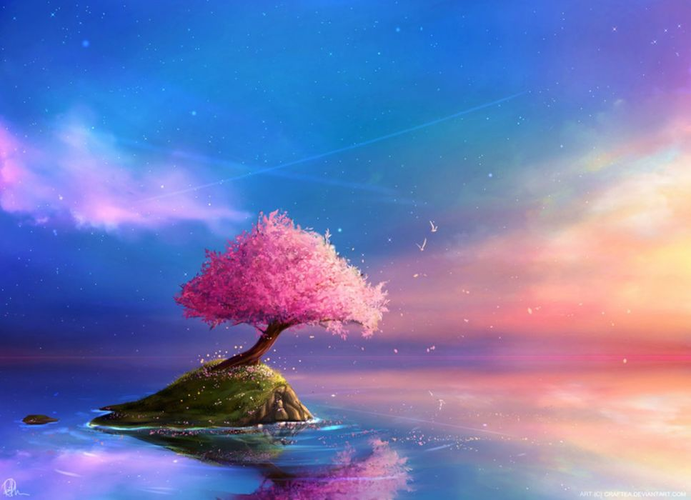 trees flowers spring nature sky clouds water figures wallpaper