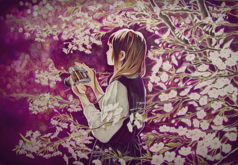 spring girls trees manga objects nature technology flowers wallpaper