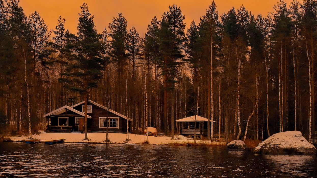 water trees houses sky nature snow widescreen wallpaper