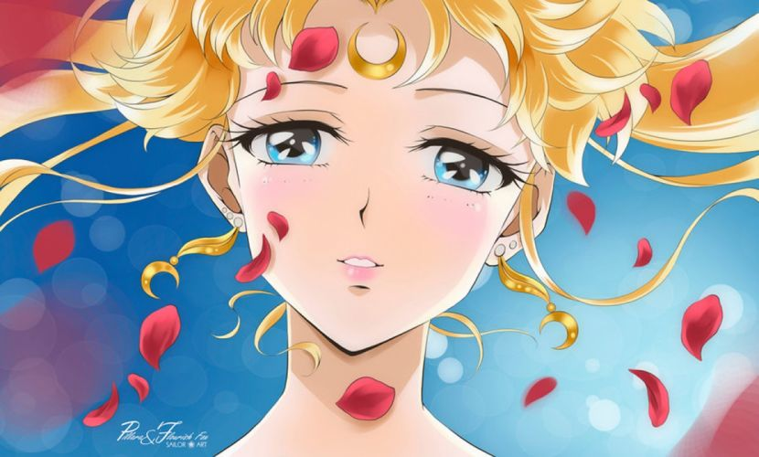 usagi tsukino sailor moon petals girl blue eyes anime beauty wallpaper
