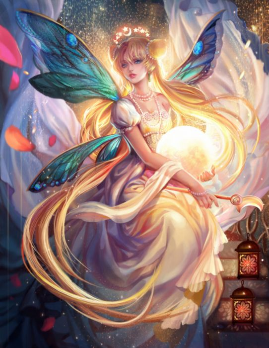 princess serenity usagi tsukino sailor moon girl beauty wings magic blond long hair blue eyes wallpaper