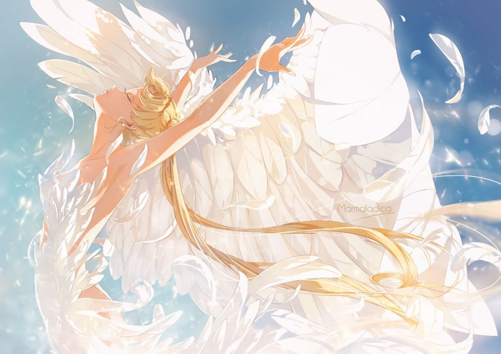 princess serenity usagi tsukino anime series girl feathers beauty wallpaper