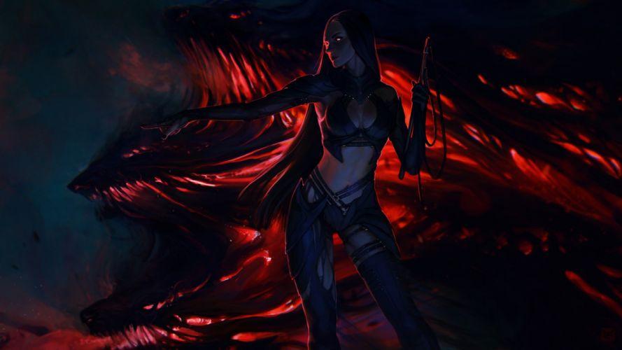 exellero girl woman fantasy red eyes monster wallpaper