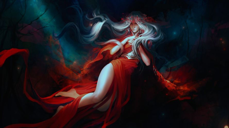 girls drawings fantasy widescreen dress long hair wallpaper