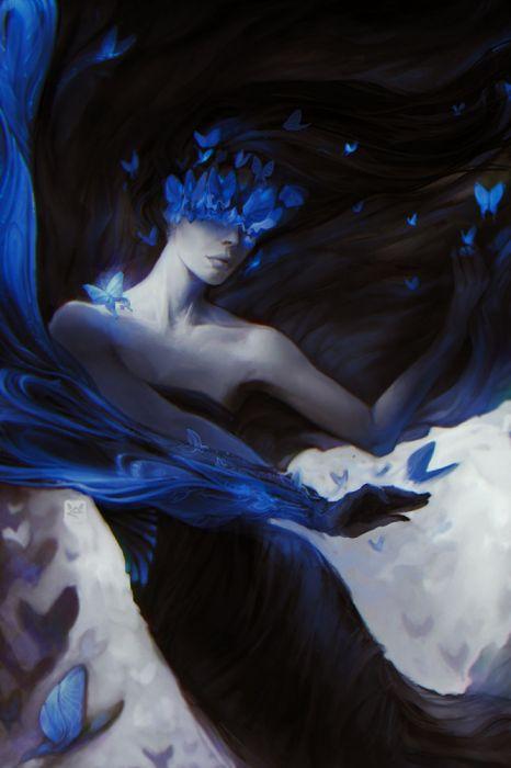 exellero blue girl butterfly long hair fantasy wallpaper
