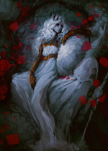 exellero fantasy girl woman rose dress wallpaper