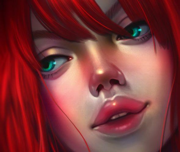 girls figures red hair green eyes woman face wallpaper