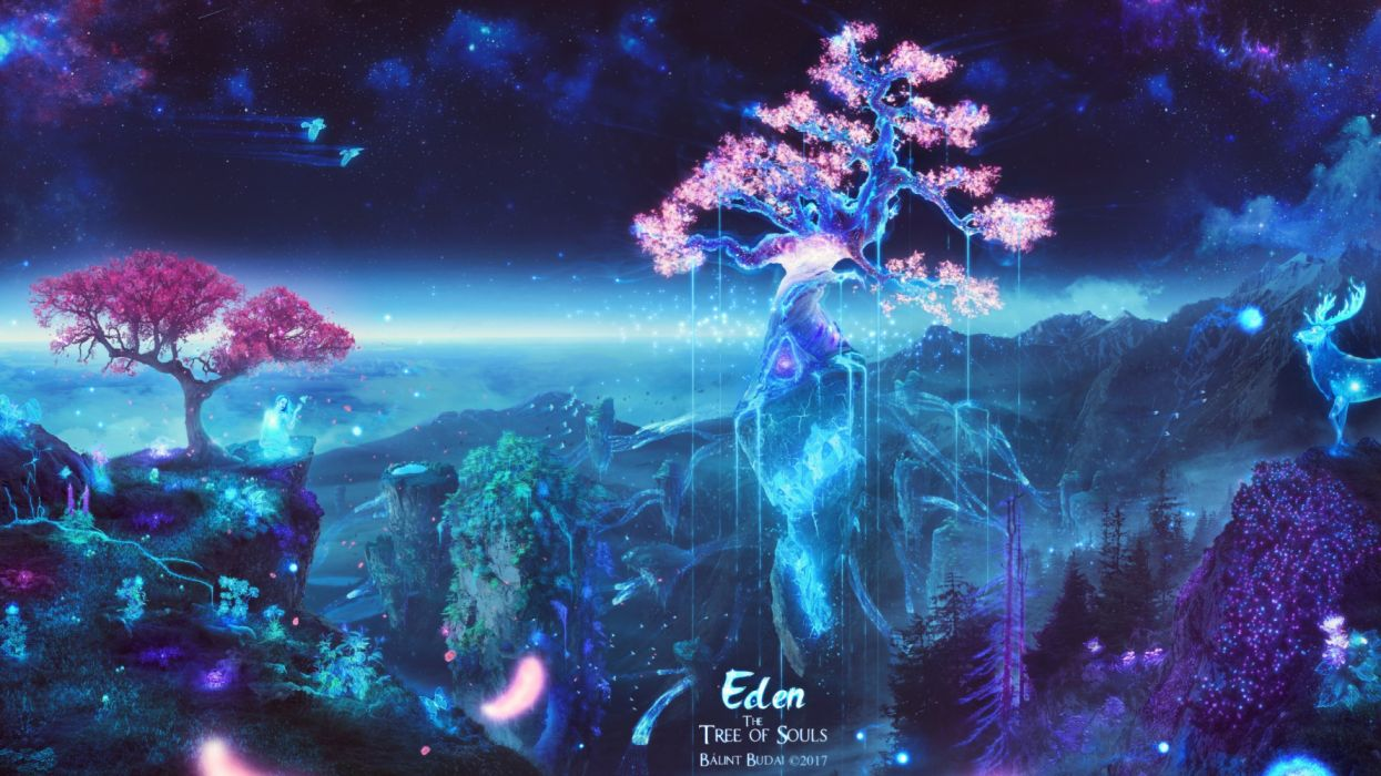 mountains girls trees animals beautiful sky birds fantasy wallpaper