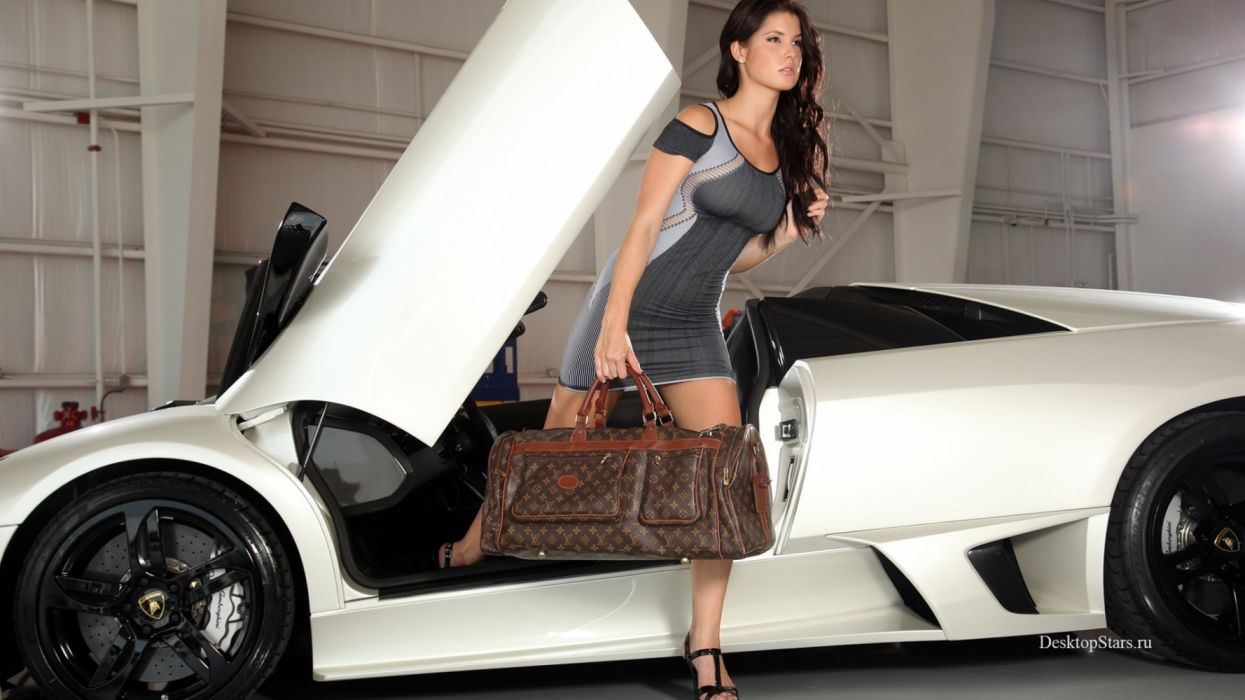 Machine sensuality sensual sexy girl woman model car Amanda-Cerny legs minidress bag Lamborghini wallpaper