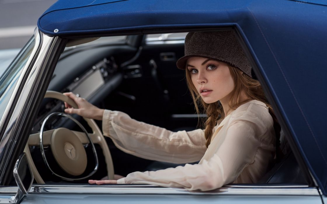 Machine sensuality sensual sexy girl woman model car Anastasia-Scheglova face hat sitting steering-wheel Mercedes-Benz wallpaper