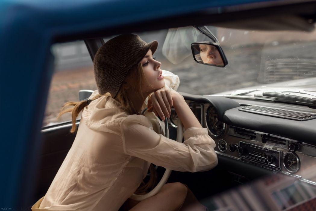 Machine sensuality sensual sexy girl woman model car Anastasia-Scheglova face hat sitting steering-wheel mirror Mercedes-Benz wallpaper