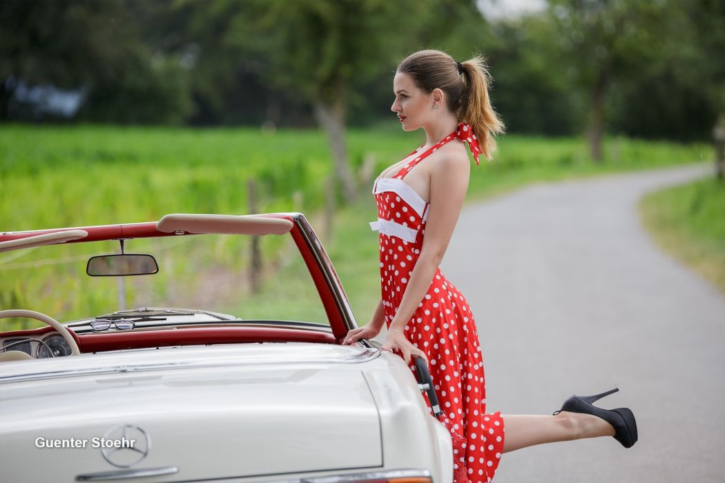 Machine sensuality sensual sexy girl woman model car dress polka-dots blonde road mercedes legs high-heels ponytail wallpaper