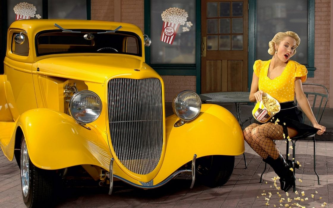 Machine sensuality sensual sexy girl woman model old-car classic oldtimer pinup legs knees dress stockings vintage popcorn sitting yellow wallpaper