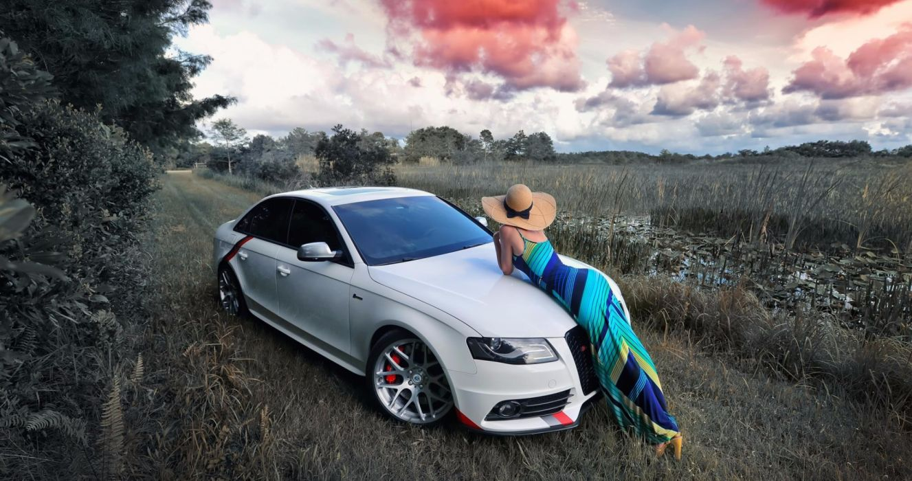 Machine sensuality sensual sexy girl woman model car photography dress nature sky clouds Audi wallpaper