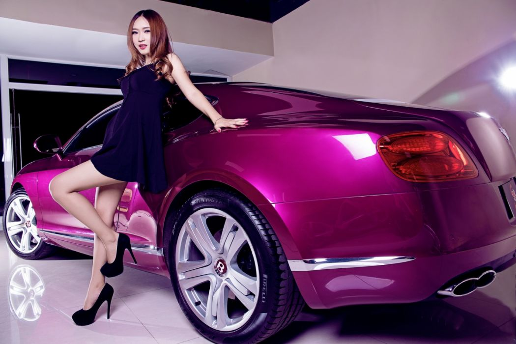Machine sensuality sensual sexy girl woman model car legs knees dress high-heels curly-hair redhead standing asian Bentley wallpaper