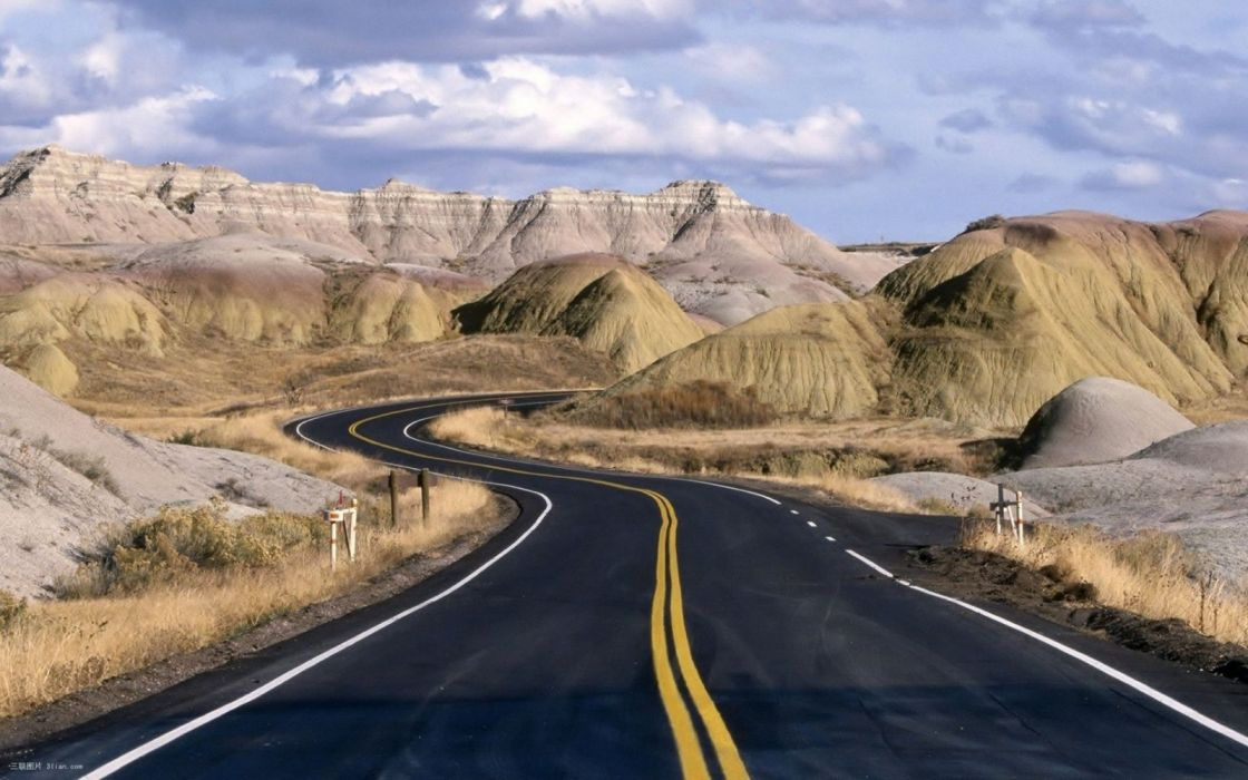 carretera desierto curvas montes wallpaper