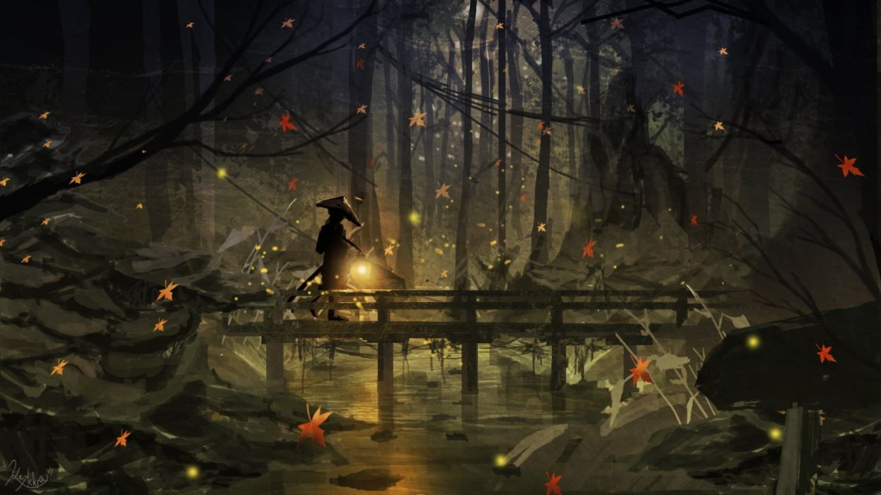 forest people bridges insects night autumn objects drawings wallpaper
