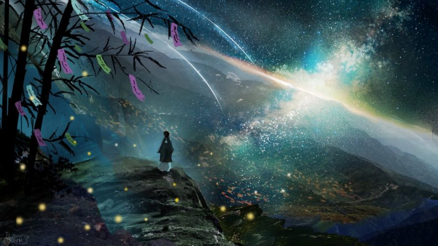 mountains trees people sky night nature figures fantasy wallpaper