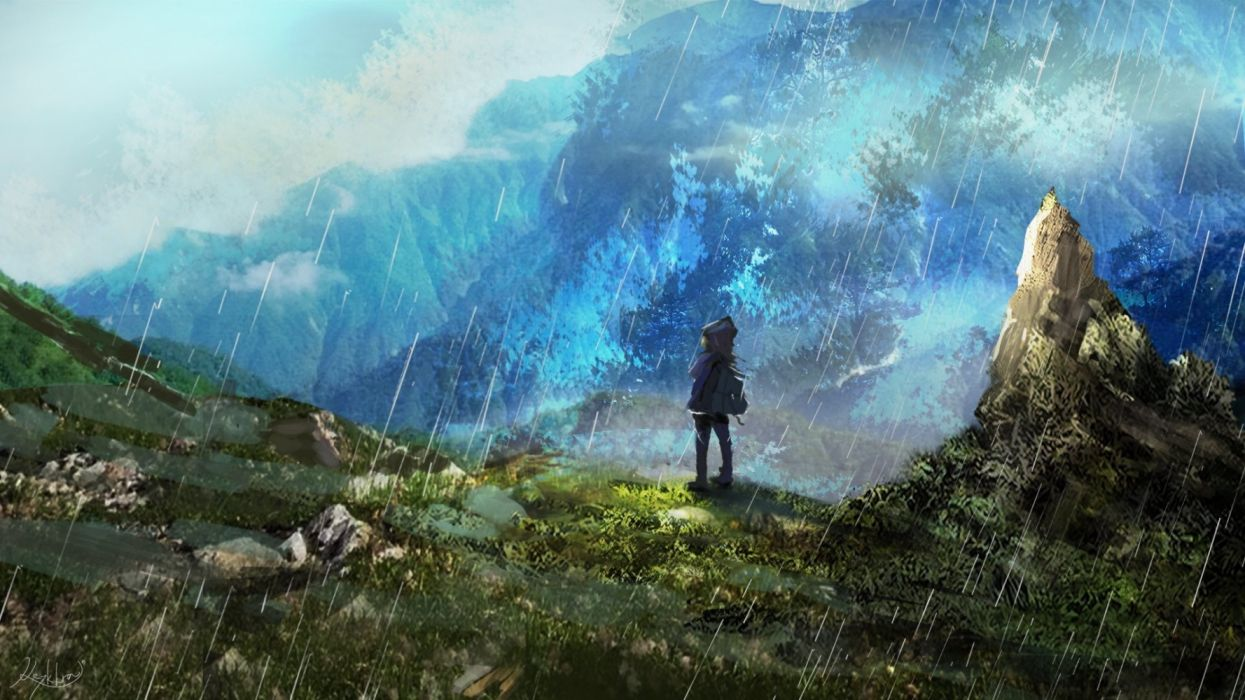 mountains children rain sky objects nature drawings wallpaper