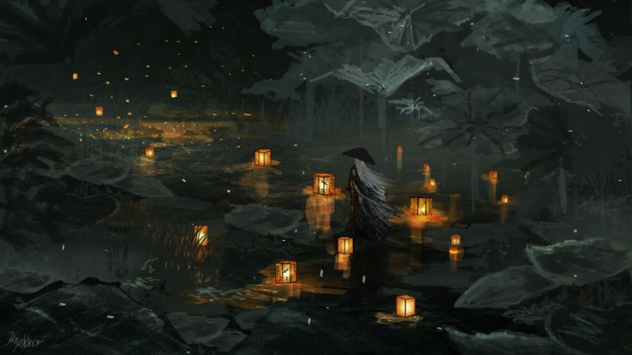 water men night objects nature drawings wallpaper