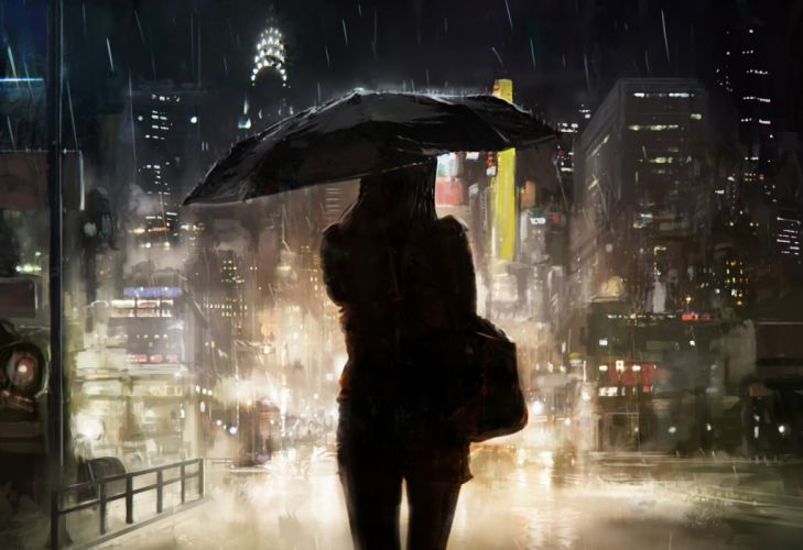 auto city girls rain road sky objects drawings wallpaper