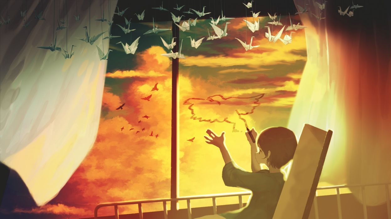 children toys interior manga sky birds wallpaper