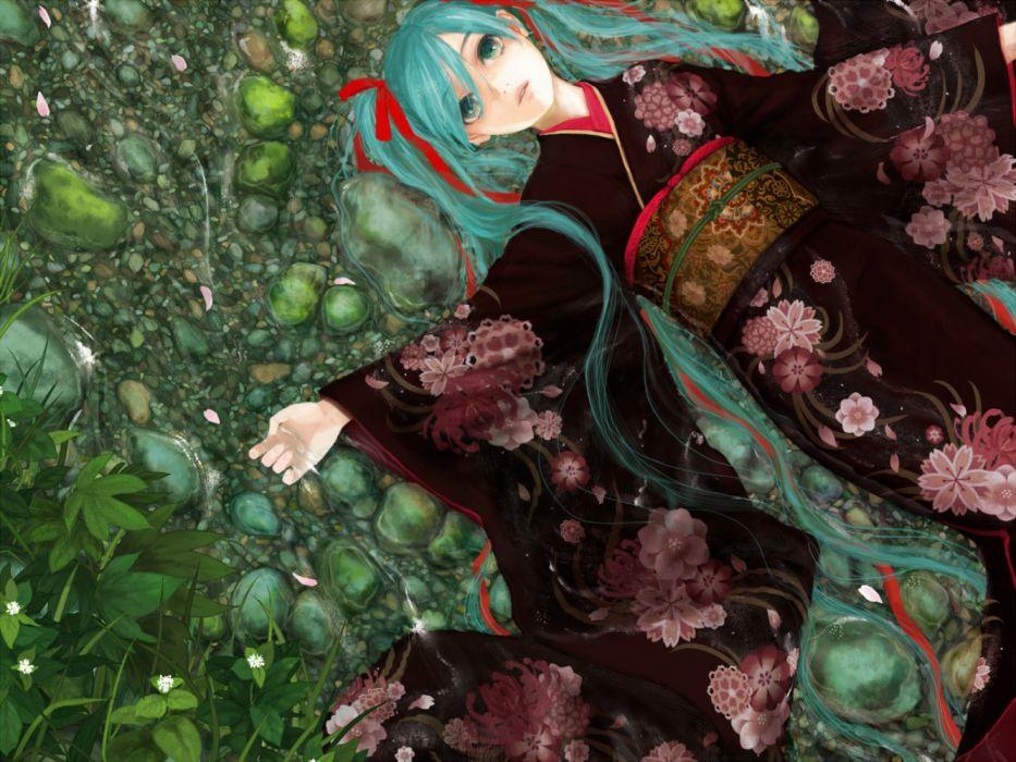 anime water girls leaves nature flowers wallpaper