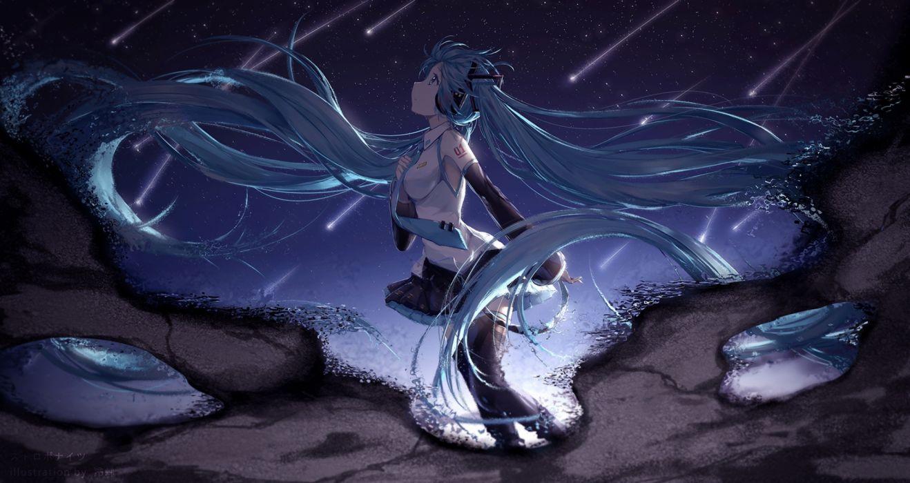 water girls manga sky night wallpaper
