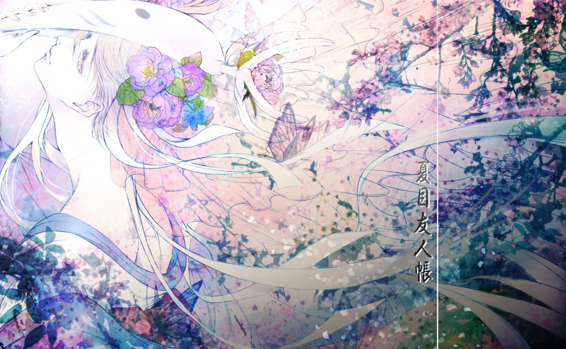 natsume anime butterflies men insects objects fantasy flowers wallpaper