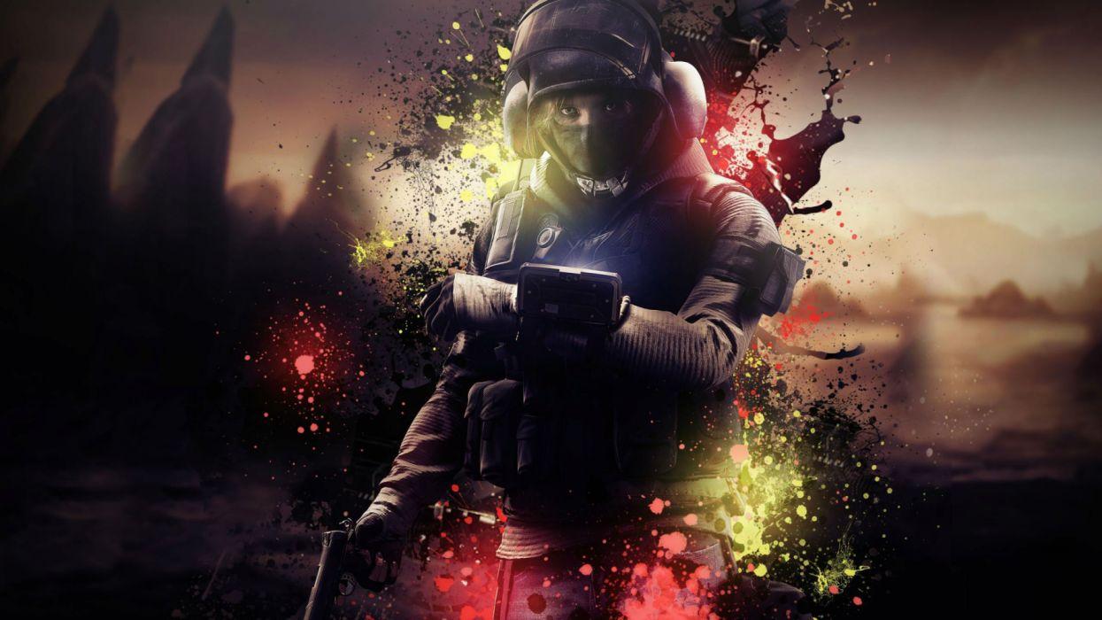 RAINBOW SIX action fighting military shooter tom war clancys warrior sci-fi futuristic wallpaper