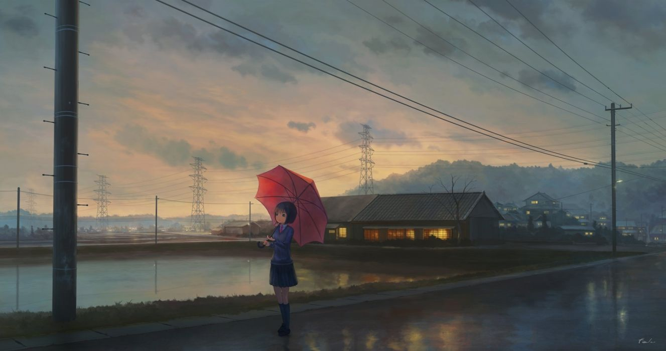 water girls houses roads sky objects drawings anime umbrella wallpaper