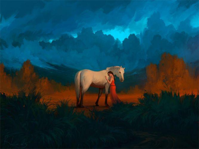 girls animals horses sky nature figures wallpaper