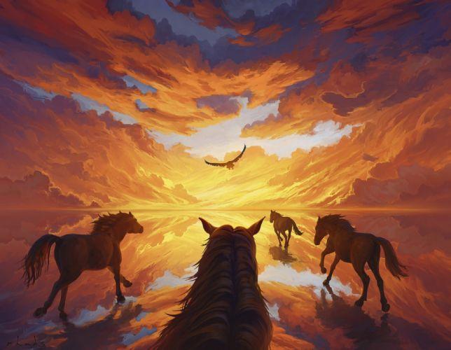 water animals beautiful horses sky birds figures wallpaper