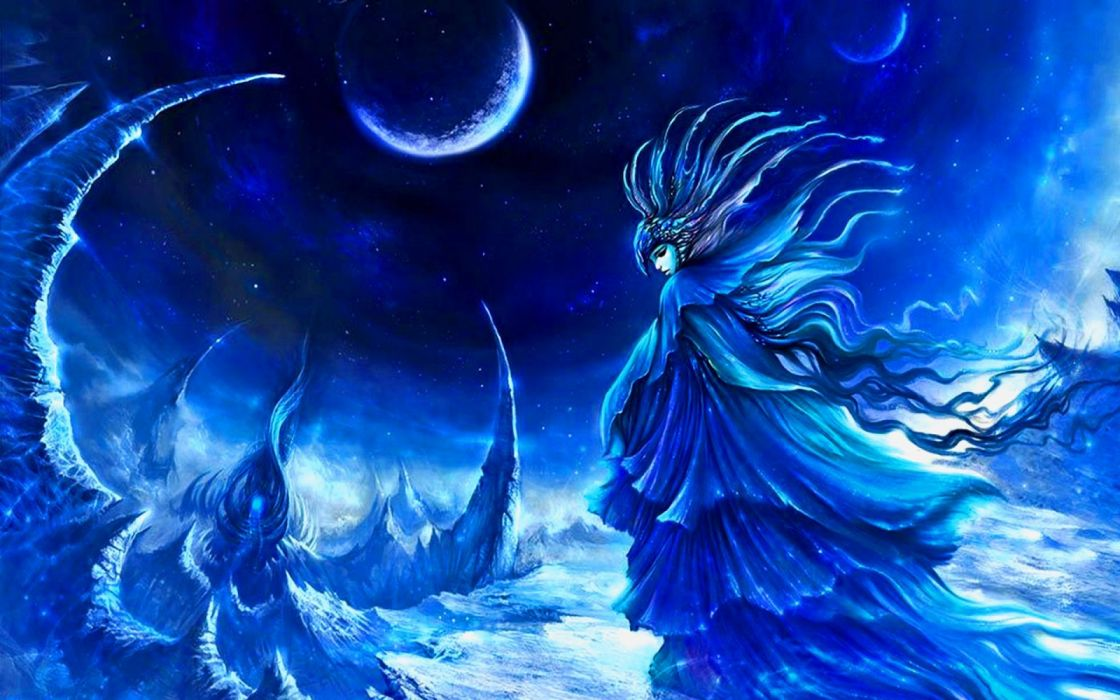 mountains girls moon night drawings fantasy wallpaper
