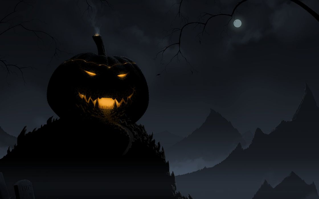 city mountains gothic moon monsters night figures wallpaper