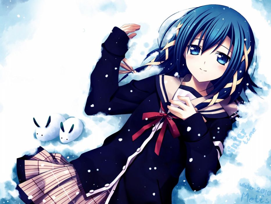 anime girls animals winter rabbits snow phrases wallpaper