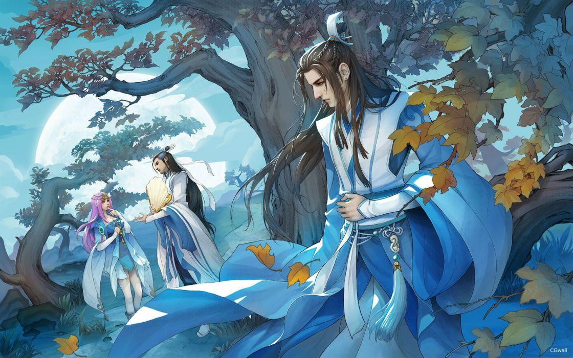 girls trees leaves moon men nature figures fantasy wallpaper