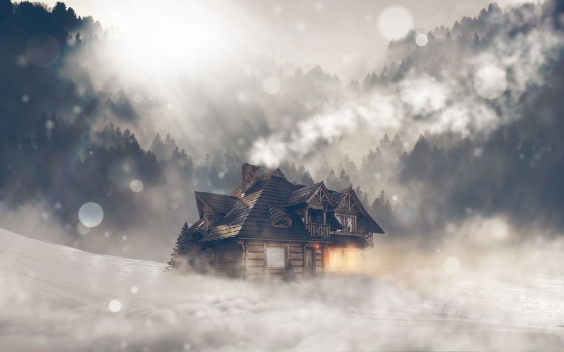 Wooden house drowning in the oncoming snow storm bokeh houses winter forest nature snow wallpaper
